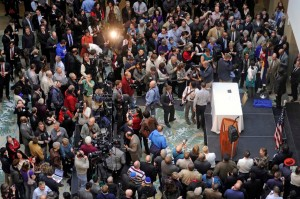 The crowd at Colorado's history museum grew before Colorado Gov. John Hickenlooper signed the Colorado Civil Union Act into law March 21. Photo by Evan Semon/Out Front